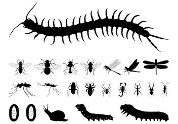 Insects Silhouettes Set - Free vector #157601