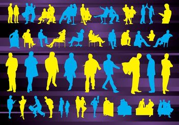 Business People Silhouettes - vector gratuit #157821