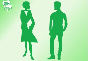 Talking Man And Woman Silhouettes - vector gratuit #157871
