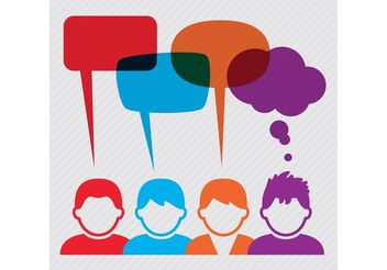 People Vectors with Speech Bubbles - vector gratuit #157971