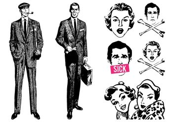 Retro People Designs - vector gratuit #158001
