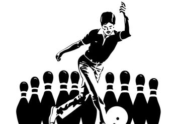 Man Playing Bowling - Free vector #158131