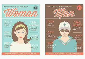 Free Retro Magazine Covers Vector - vector gratuit #158281