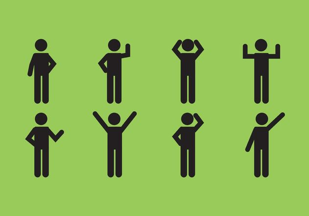 Male Stick Figure Icon Set - бесплатный vector #158311