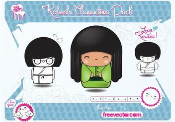 Kokeshi Characters - vector #158621 gratis