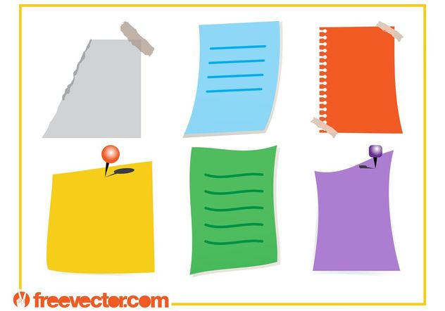 Colorful Notes Vectors - vector #159111 gratis