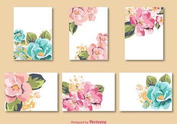 Flower Card Vector Templates - Free vector #159161