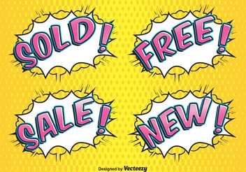 Comic Style Sale Labels - Free vector #159471