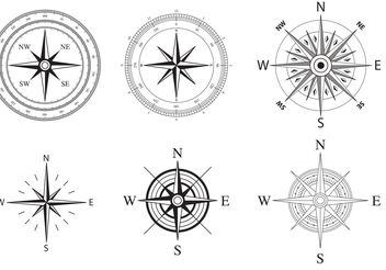 Wind and Nautical Compass Rose Vectors - vector gratuit #159591