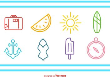 Summer Time Line Icons - Free vector #159721