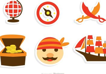 Collection Of Pirate Icons Vector - Free vector #159761