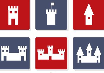 Castle White Icons Vector - бесплатный vector #160361
