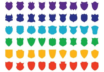 Colorful Shields Set - vector #160551 gratis