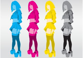 CMYK Girls - vector gratuit #160981