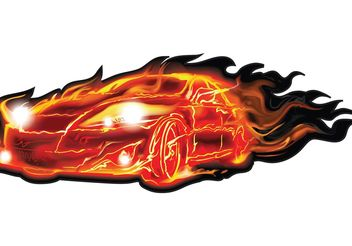 Flame Car Vector - vector gratuit #161281