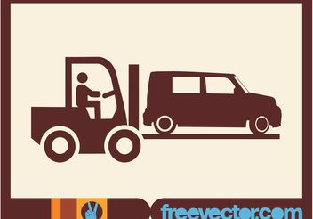 Fork Lift Truck Icon - Free vector #161301