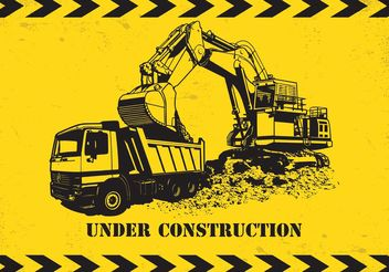 Free Vector Dump Truck And Excavator - Free vector #161311