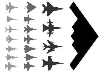 Military Aircraft Silhouettes - Free vector #162411