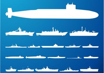 Submarines And Ships Silhouettes - vector gratuit #162511