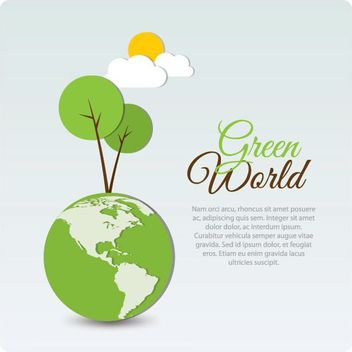 Funky Green World Background - vector gratuit #162591