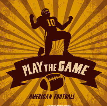 American Football Retro Design - vector gratuit #162761