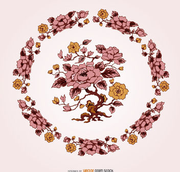 Unique Vintage Flower Ornament - Free vector #162831