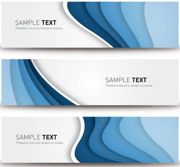 Blue Waves Gray Banner Set - vector gratuit(e) #162881