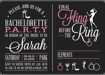Bachelorette Vintage Party Invitation Design - Free vector #163051