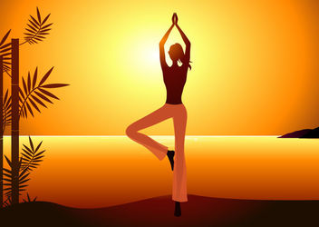 Yoga Woman Sunrise Background - Free vector #163171