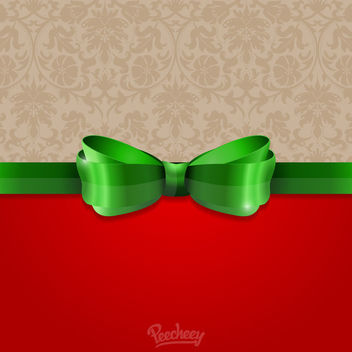 Floral Card with Green Ribbon - Free vector #163191