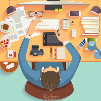 Businessman Cartoon Working on Desk - Free vector #163211