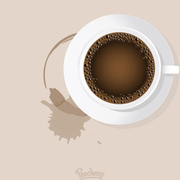 Realistic Cup of Coffee with Stain - vector gratuit #163241