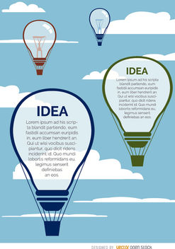 Light bulb balloons in sky - Free vector #163291