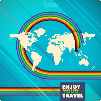Rainbow Stripes World Map Travel Background - Free vector #163311