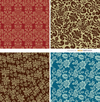 4 Seamless floral patterns - бесплатный vector #163501