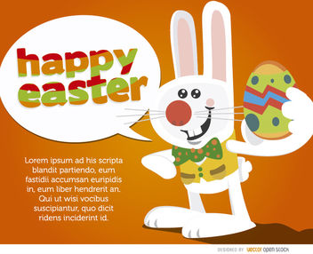 Bunny with egg saying Happy Easter - vector gratuit #163541