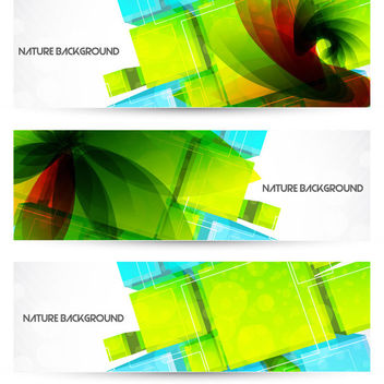 Colorful Cubes Vortex Floral Banners - Free vector #163551