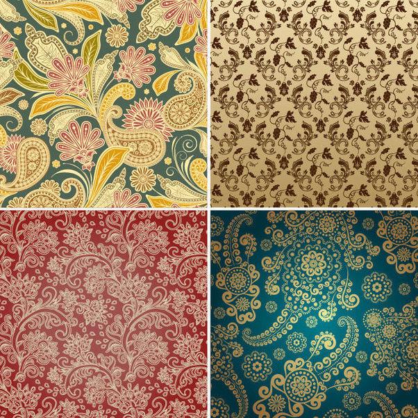 Seamless Vintage Floral Pattern Set - Kostenloses vector #163621