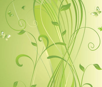 Swirly Green Floral Background - Free vector #163661