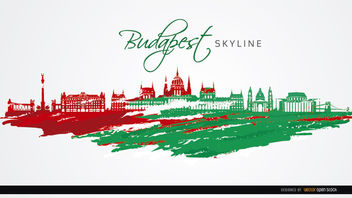 Budapest city monuments flag colors - vector gratuit #163691