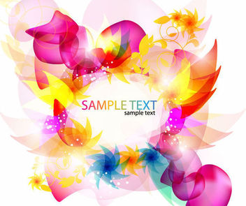 Colorful Fluorescent Abstract Floral Background - Free vector #163711