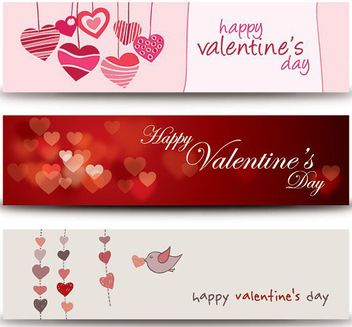Funky & Modern 3 Valentine Banners - Free vector #163861