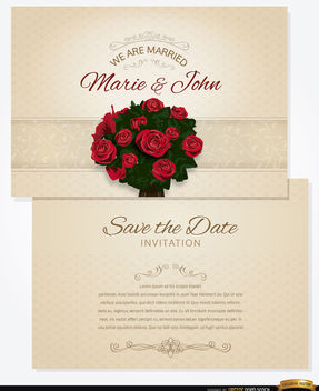 Bouquet wedding invitation and sleeve - Free vector #163891