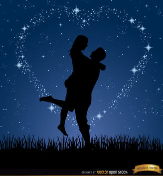 Couple love night stars background - vector gratuit #163961