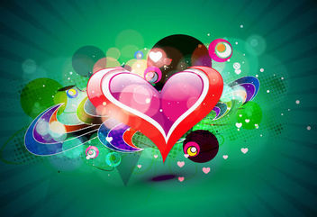 Fluorescent Heart with Colorful Bubbles & Sunbeam - бесплатный vector #163991