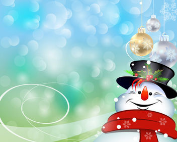 Hanging Baubles on Happy Snowman over Bokeh Lights - Free vector #164191