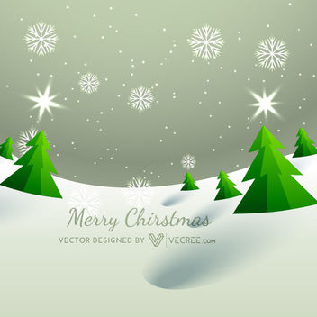Xmas Trees on Snowy Landscape Background - Free vector #164241