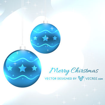 Blue Abstract Baubles on Grey Xmas Background - Free vector #164281