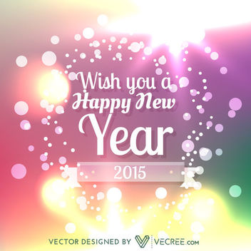 New Year Greetings on Shiny Colorful Bokeh Background - Free vector #164321