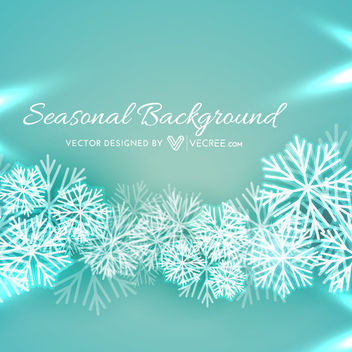 Snowflakes Turquoise Background with Xmas Greeting - vector gratuit #164361